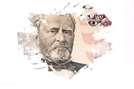 Fifty dollar banknote with president Grant portrait for money background