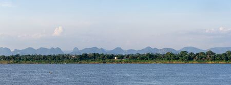 Landscape in the countryside of Nakhon Phanom, Thailand and Thakhek, Laos with Mekong River.