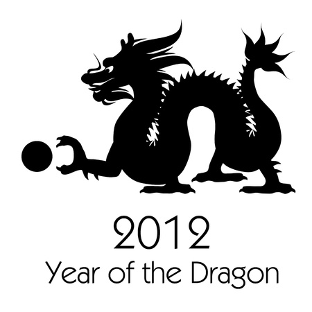 Chinese New Year of the Dragon 2012 Black White Clip Art photo