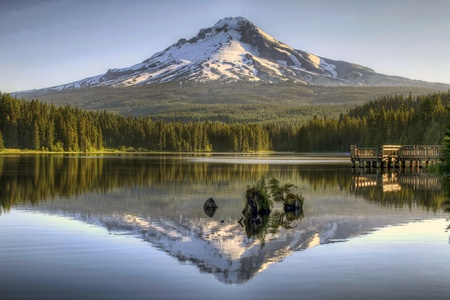 Mount Hood Reflection on Trillium Lake by Fishing Dock at Sunrise photo