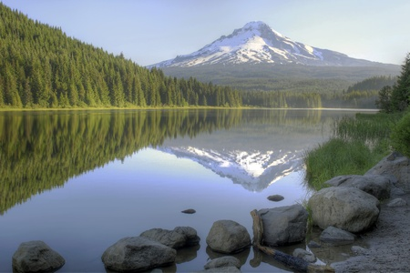 Mount Hood Reflection on Trillium Lake in the Morning