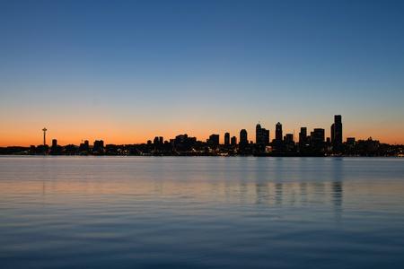 puget: Seattle Washington Waterfront Skyline along Puget Sound at Sunrise Panorama