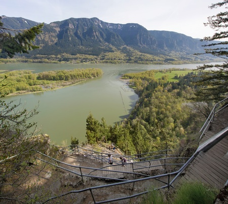 Hiking up Beacon Rock with Scenic View of Columbia River Gorge