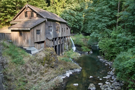 grist mill: Historic Grist Mill along Cedar Creek in Washington State Stock Photo