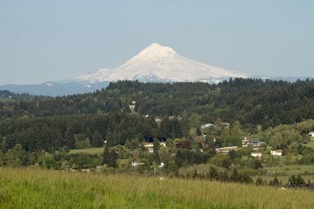 oregon  snow: Mount Hood from Happy Valley Oregon Scenic View Stock Photo