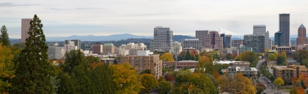 mount hood: Panoramic View of Portland Oregon Cityscape in Fall with Mount Hood
