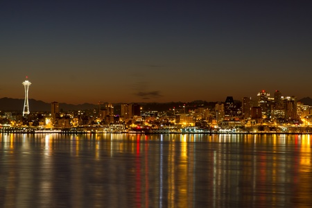 seattle skyline: Seattle Washington City Skyline Reflection on Puget Sound at Dawn