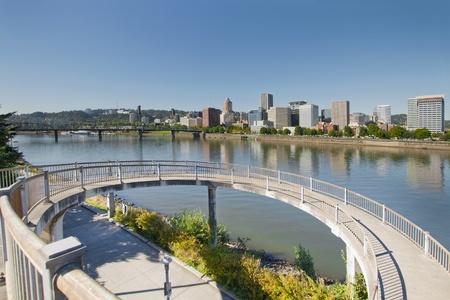 eastbank: Circular Walkway on Portland Oregon Eastbank Esplanade along Willamette River