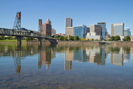eastbank: Portland Oregon Downtown Skyline and Hawthorne Bridge Reflection