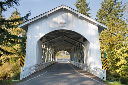 linn: Hannah Covered Bridge in Linn County Oregon Stock Photo