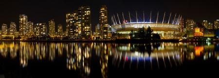 Vancouver BC Canada Skyline along False Creek at Night Panorama