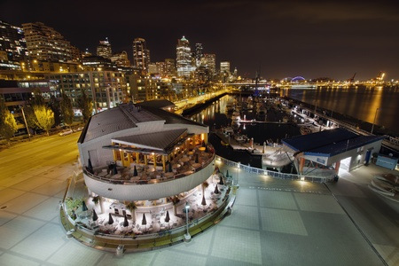 Seattle Downtown Skyline and Marina by the Pier at Night photo