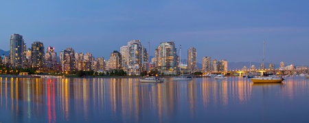 Blue Hour at False Creek in Vancouver BC Canada Panorama photo