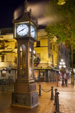 flower baskets: Steam Clock in Gastown Vancouver BC Canada at Night Stock Photo