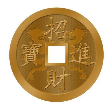 dragon year: Happy Chinese New Year Dragon Gold Coin Illuistration Stock Photo