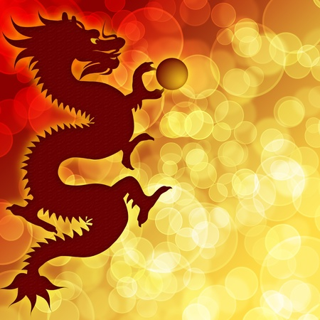 Happy Chinese New Year Dragon with Blurred Bokeh Background Illustration illustration