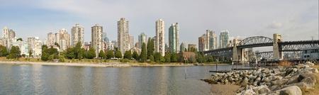 Vancouver BC Canada City Skyline and Burrard Bridge Panorama photo
