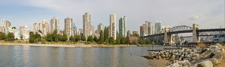 bc: Vancouver BC Canada City Skyline and Burrard Bridge Panorama