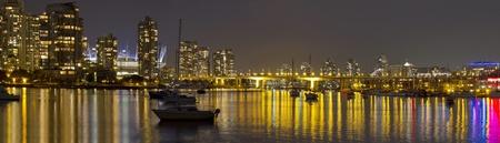 Vancouver BC Skyline and Cambie Bridge at Night Panorama photo