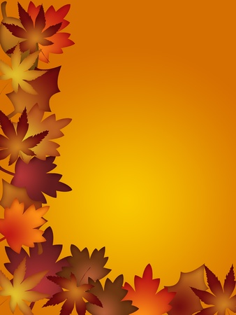 festive background: Colorful Fall Leaves Border Background Illustration