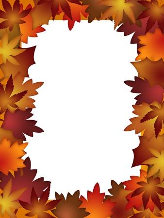 Colorful Fall Leaves Border over White Background Illustration illustration