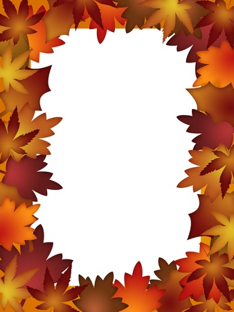 Colorful Fall Leaves Border over White Background Illustration Stock Photo