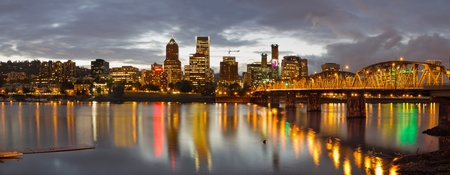Portland Oregon Waterfront Downtown Skyline at Sunset Panorama photo