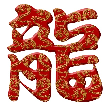 Chinese Dragon Calligraphy Symbols Isolated on White Background photo
