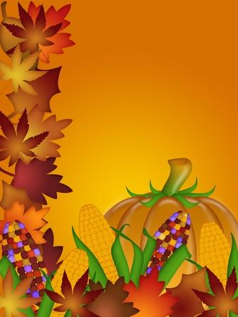 event party festive: Pumpkin Ornamental Corn Cob and Fall Leaves Illustration