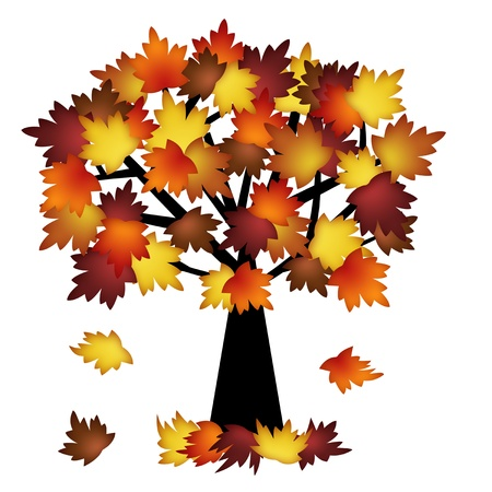 fall harvest: Colorful Fall Leaves on Tree Illustration in Autumn