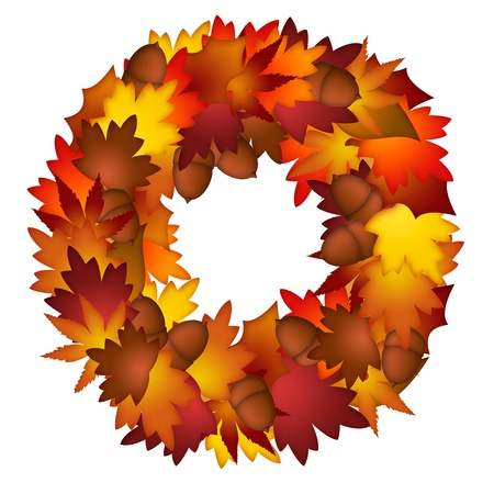 oak wreath: Fall Leaves and Acorns Wreath Isolated on White Background