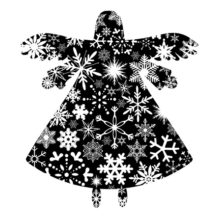 angel white: Christmas Angel Silhouette with Snowflakes Design Clipart Illustration