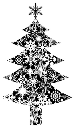 christmas motives: Christmas Tree with Snowflakes Pattern Clipart Illustration