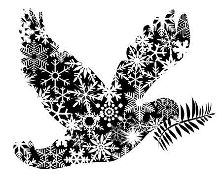 dove of peace: Christmas Peace Dove Silhouette Clipart Illustration Isolated