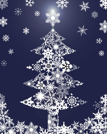 Christmas Tree with Snowflakes Blue Background Clipart Illustration Stock Photo
