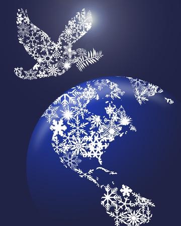 paloma de la paz: Paloma de la paz de Navidad y tierra globo Clipart ilustraci�n