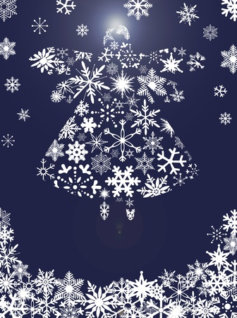 Christmas Angel Flying with Snowflakes Design Blue Background Illustration