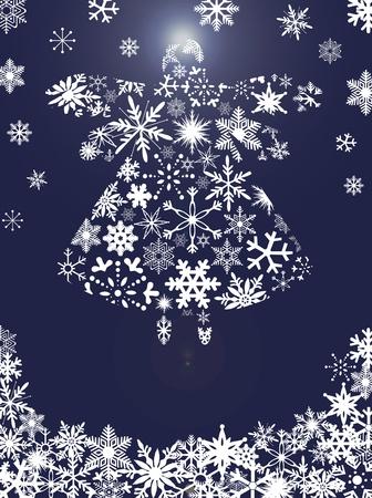 Engel van Kerstmis Vliegen met Sneeuwvlokken Ontwerp Blauwe Achtergrond Illustratie