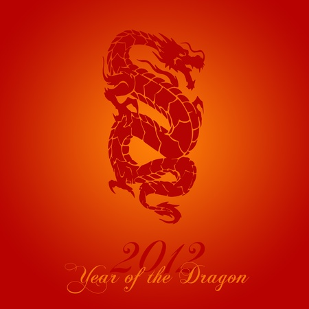 dragon year: 2012 Chinese Year of the Dragon on Red Background Illustration