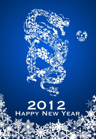 2012 Chinese Year of the Dragon with Snowflakes Illustration