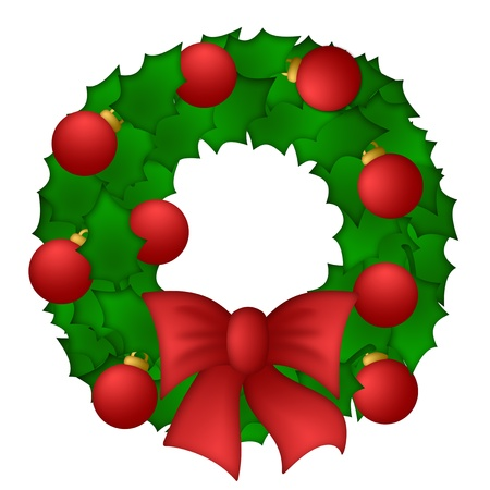 Holly Leaves Christmas Wreath Isolated on White Background Stock Photo - 10871720