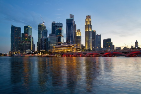 Singapore River Waterfront Skyline at Sunset from Esplanade photo