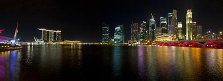 singapore city: Singapore Skyline from Esplanade Night Scene Panorama
