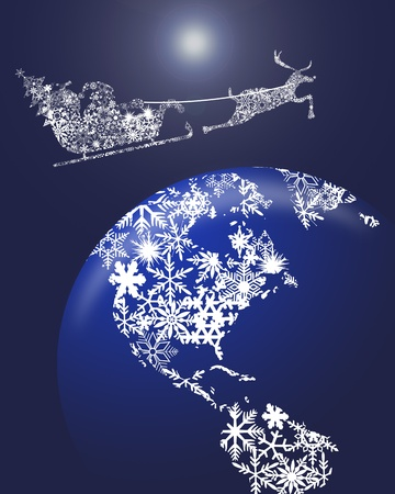 Christmas in Sleigh with Reindeer over Earth Globe Clipart Illustration