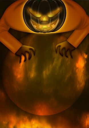 Halloween Jack O Lantern Over Fiery Spooky Moon Illustration