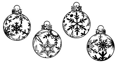 dessin noir blanc: No�l ornements noir et blanc Clipart Banque d'images