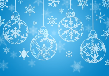 Christmas Ornaments with Snow Flakes on Blue Background