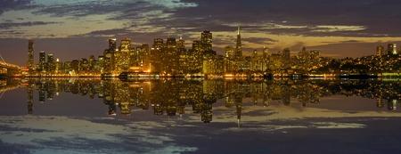oakland: San Francisco Skyline Reflection along the Bay Panorama