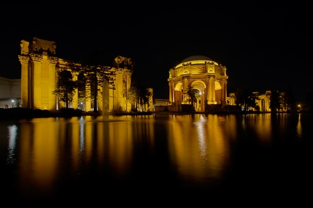 fine arts: San Francisco Palace of Fine Arts Reflection by the Pond at Night
