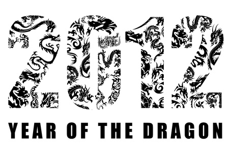 2012 Number with Chinese Year of the Dragon  Design Clipart Stock Photo - 10962138